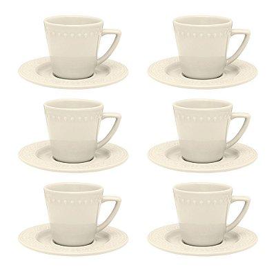 Jogo de Xícaras de Chá Mendi Marfim - 12 Peças - Oxford