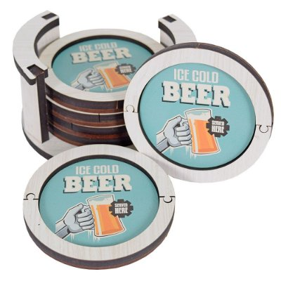 Conjunto Porta Copos - Ice Cold Beer Served Here - Vikos