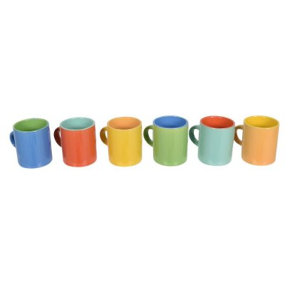 Jogo de Mini Canecas de Café Bicolor - 6 Peças - Mimo Style