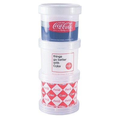 Conjunto Organizador Com Tampa - 3 Peças - Coca-Cola - Plasútil