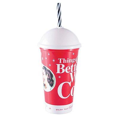 Copo Shake Canudo 500ml - Coca-Cola - Plasútil