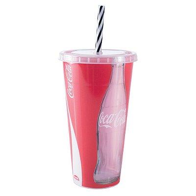 Copo Refri Canudo 700ml - Coca-Cola - Plasútil