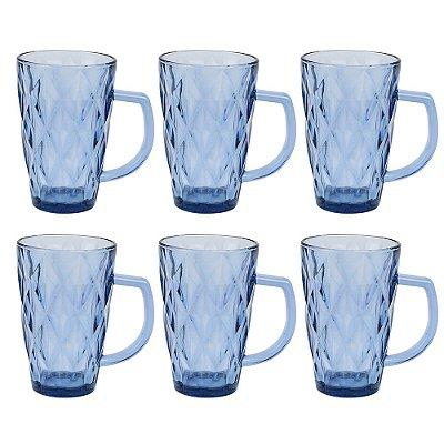 Jogo de Copos Com Alça Diamond 280ml - Blue - Jh Glassware