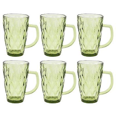 Jogo de Copos Com Alça Diamond 280ml - Green - Jh Glassware