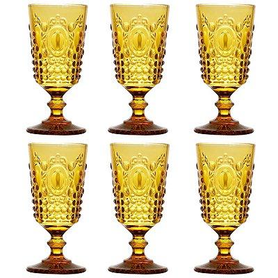 Jogo de Taças Para Vinho 205ml - Amarelo - Lyor