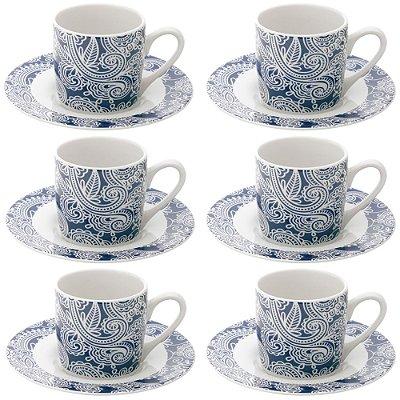 Jogo de Xícaras de Café Blue Floral - 6 Peças - Lyor