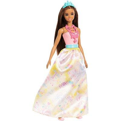 Boneca Barbie Dreamtopia Princesas - Morena - Mattel