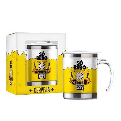 Caneca Plástica Inox 450ml - Só Bebo Cerveja - Brasfoot