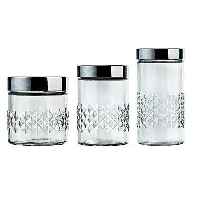 Conjunto de Potes de Vidro Losangos - 3 Peças - Euro Home