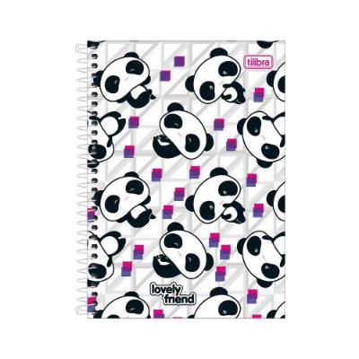 Caderno 1/4 Espiral Lovely Friend - Mini Pandas - 80 Folhas - Tilibra