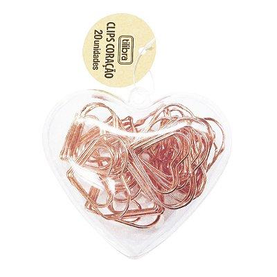 Clips Ouro Rosé de Coração - 20 Peças - Tilibra