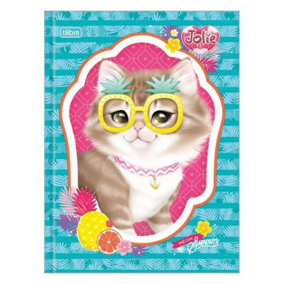 Caderno Brochura Jolie Pet - Gato de Óculos - 80 Folhas - Tilibra