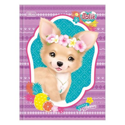 Caderno Brochura Jolie Pet - Cadelinha com Flor - 80 Folhas - Tilibra