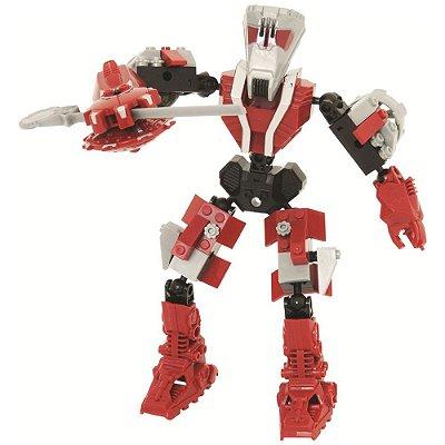 Blocos Para Montar - Robô Guerreiro Red Armor - 59 Peças - Xalingo