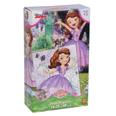 Puzzle Progressivo Princesinha Sofia - 16, 25 e 49 peças - Grow