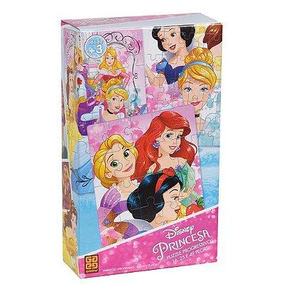 Puzzle Progressivo Princesas da Disney - 16, 25 e 49 peças - Grow