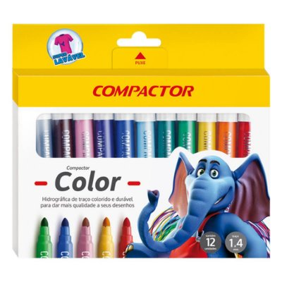 Canetinha Hidrográfica Color - 12 Cores - Compactor