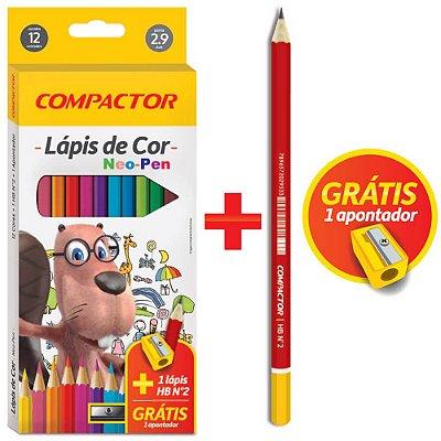 Lápis de Cor Neo-Pen + Lápis HB Nº2 + Apontador - 12 Cores - Compactor