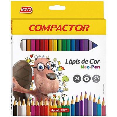 Lápis de Cor Neo-Pen 2,9mm - 24 Cores - Compactor