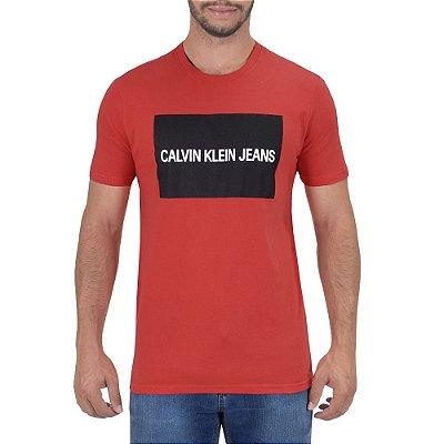 Camiseta Masculina Logo Regurar Fit - Vermelha - Calvin Klein