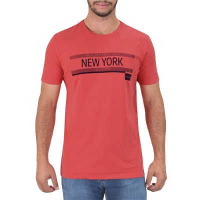 Camiseta Masculina New York Regular Fit - Vermelha - Calvin Klein