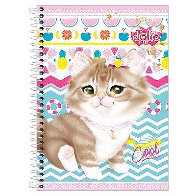 Caderno Jolie Pet - Gatinha Cinza - 1 Matéria - Tilibra