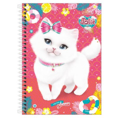 Caderno Jolie Pet - Gatinha Branca - 1 Matéria - Tilibra