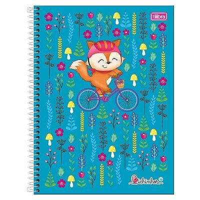 Caderno Bichinhos - Raposa Azul - 1 Matéria - Tilibra