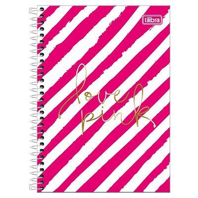 Caderno Love Pink - Listras - 10 Matérias - Tilibra