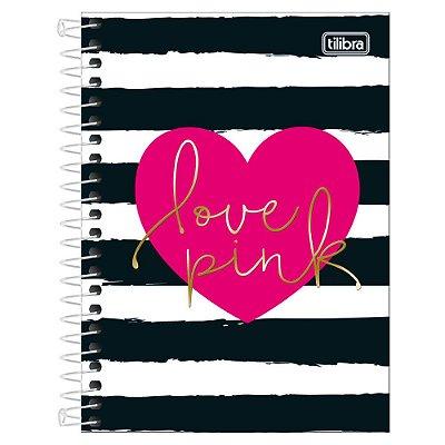 Caderno Love Pink - Listras Pretas - 10 Matérias - Tilibra