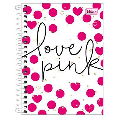 Caderno Love Pink - Branco de Bolinhas - 16 Matérias - Tilibra