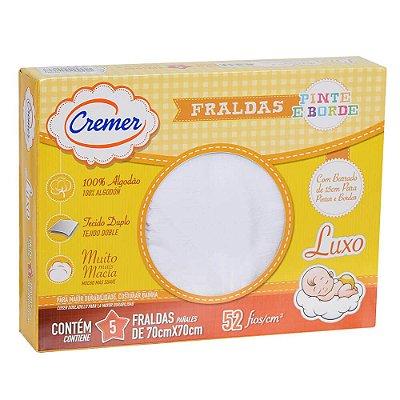 Fralda Luxo Pinte e Borde Luxo - Branca - 5 Peças - Cremer