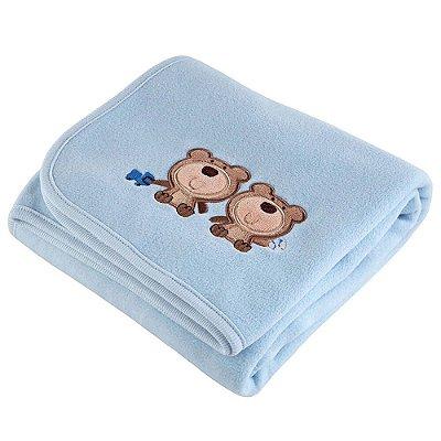 Manta Fleece Bordada - Ursinhos Azul - Lepper