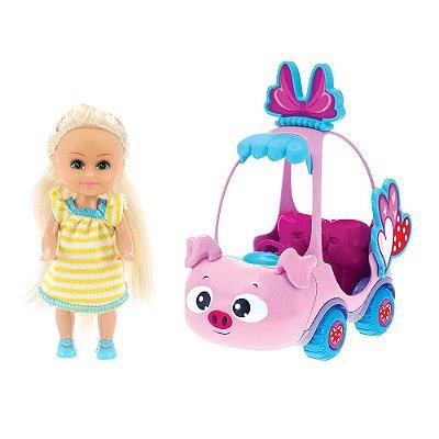 Boneca Sparkle Girlz Loira & Carro Mini Sparkles Porquinho - DTC