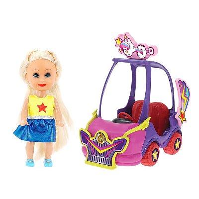 Boneca Sparkle Girlz Loira & Carro Mini Sparkles Roxo - DTC