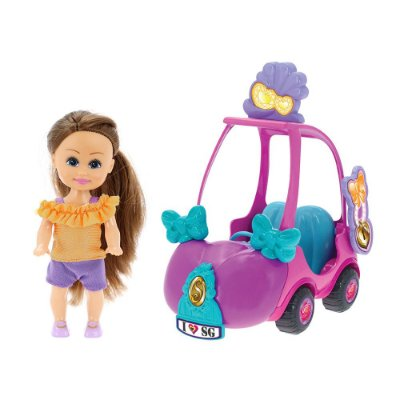 Boneca Sparkle Girlz Morena & Carro Mini Sparkles Rosa - DTC