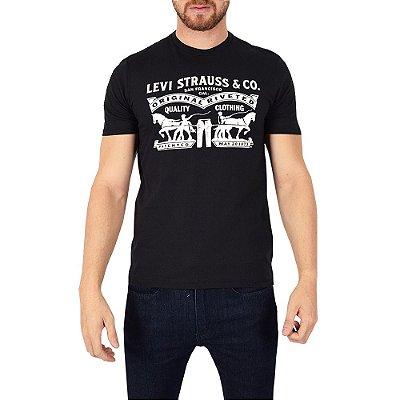 Camiseta Masculina Quality Clothing - Preto/Branco - Levis