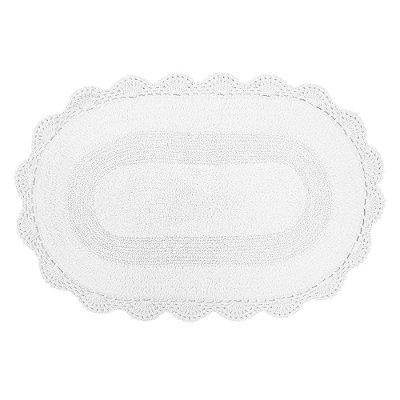 Tapete Oval de Crochê 50cm x 80cm - Branco - Kacyumara