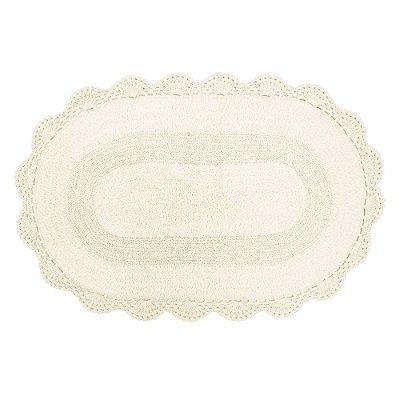 Tapete Oval de Crochê 50cm x 80cm - Cru - Kacyumara