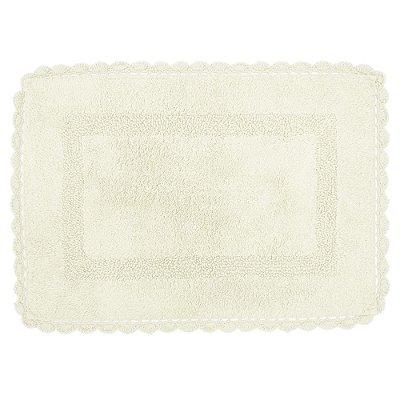 Tapete Retangular de Crochê 50cm x 70cm - Cru - Kacyumara