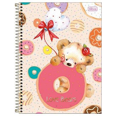 Caderno Love Bears - Donuts - 1 Matéria - Tilibra