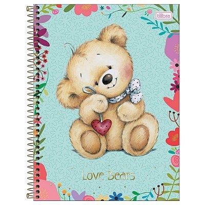 Caderno Love Bears - Verde - 1 Matéria - Tilibra