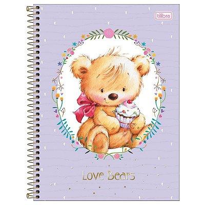 Caderno Love Bears - Lilás - 1 Matéria - Tilibra