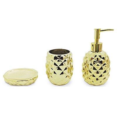 Conjunto Para Banheiro Lunar Dourado - 3 Peças - Mimo Style