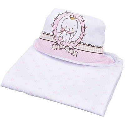 Toalha de Banho Com Capuz Bordado - Coelhinho Rosa - Colibri