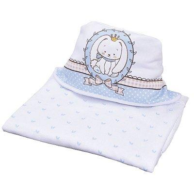 Toalha de Banho Com Capuz Bordado - Coelhinho Azul - Colibri