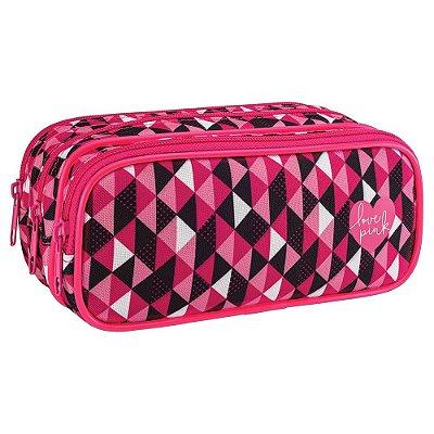 Estojo Triplo Love Pink - Preto e Rosa - Tilibra