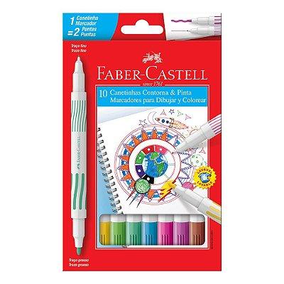 Canetinhas Contorna & Pinta - 10 Cores - Faber Castell