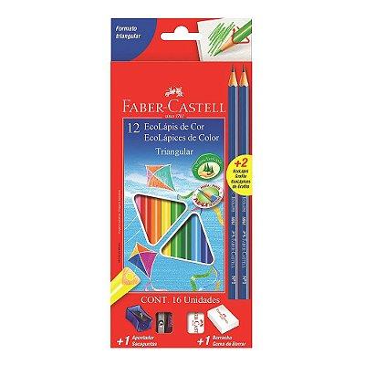 EcoLápis de Cor Triangular - 16 Itens (Apontador Rosa) - Faber Castell