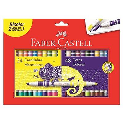 Canetinhas Bicolor - 48 Cores - Faber Castell